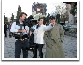 DP Neil Barrett, Director Rachel Goslins, and Norman Gershman on location in Tirana, Albania. ©JWM Productions, LLC